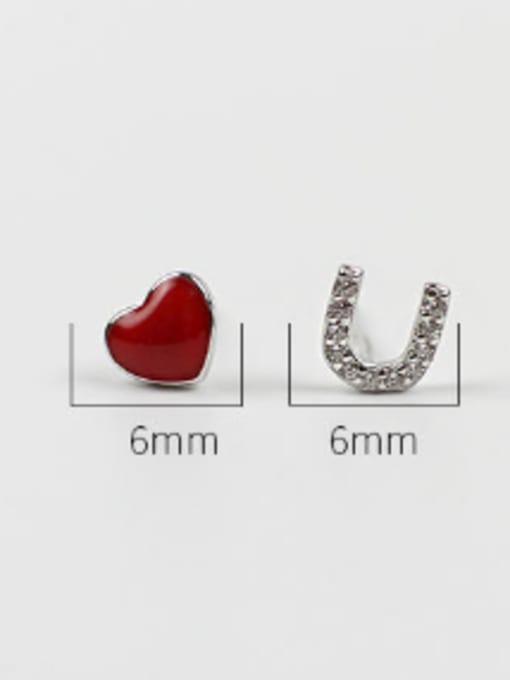 Arya Personalized Asymmetrical Heart U-shape Silver Stud Earrings