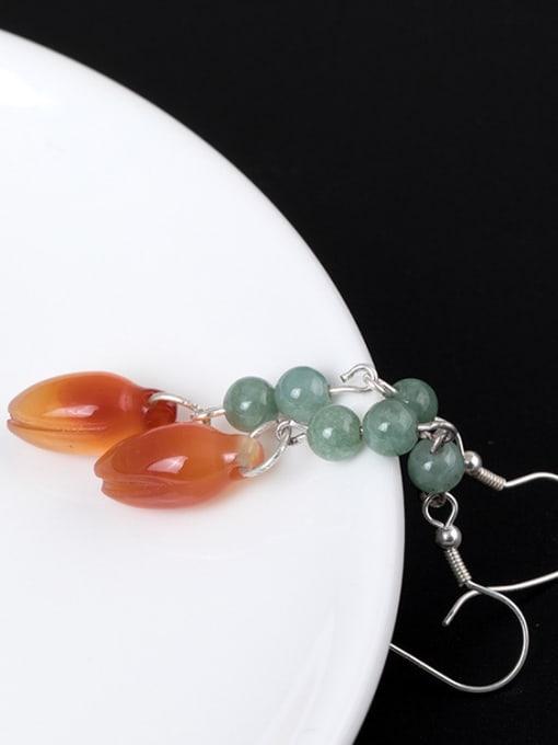 Christian Retro style Natural Emerald Jade 925 Silver Earrings