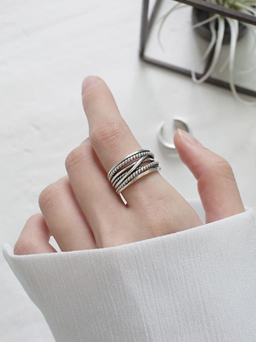 Arya Retro style Antique Silver Plated Opening Ring