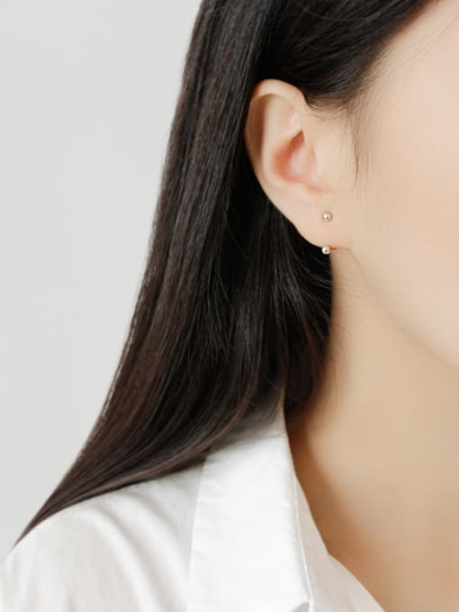 Ying 925 Sterling Silver With Platinum Plated Simplistic Geometric Stud Earrings