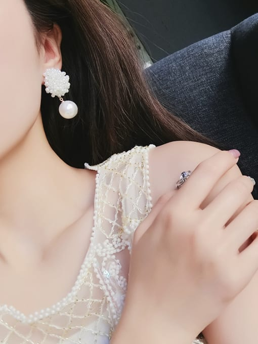 Girlhood Alloy With White Gold Plated Trendy Charm Beads Stud Earrings