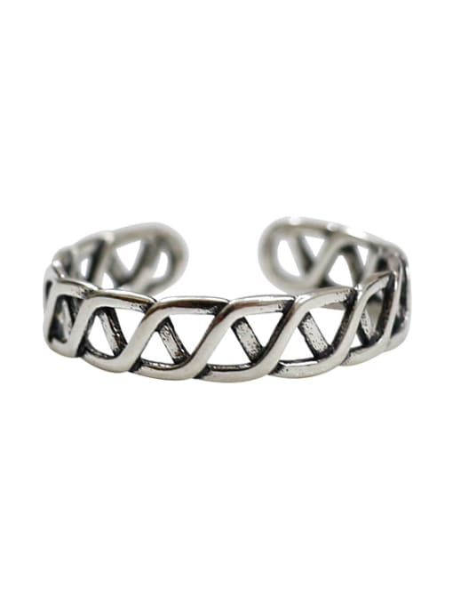 Arya Simple Hollow Woven Silver Opening Ring