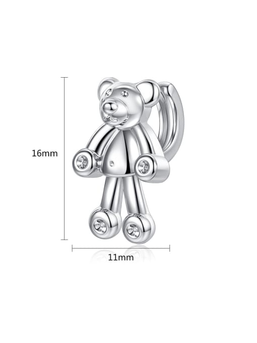 BLING SU Copper With 18k Gold Plated cute Animal bear Stud Earrings