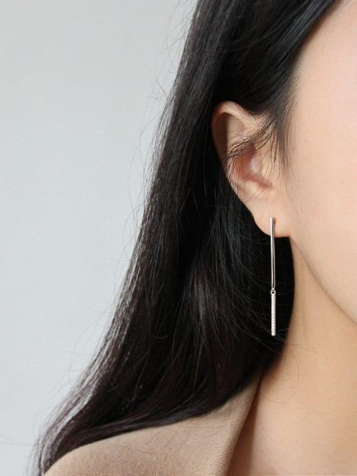 Arya 925 Sterling Silver With Platinum Plated Delicate Geometric Rhinestone Drop Earrings