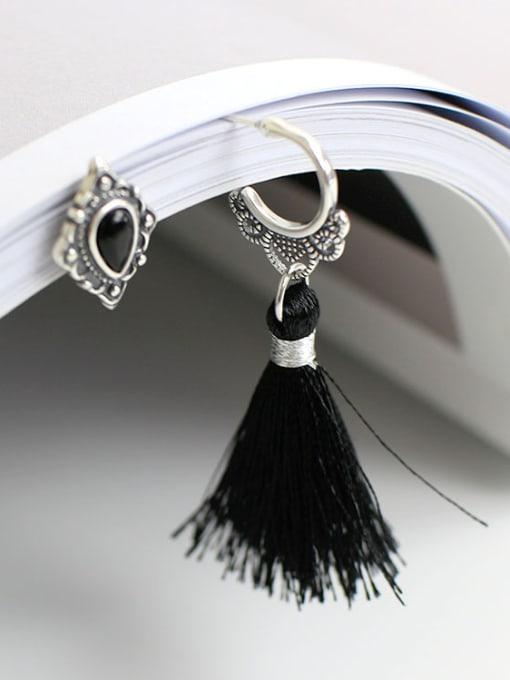 Arya Asymmetrical Black Carnelian Tassels Silver Stud Earrings