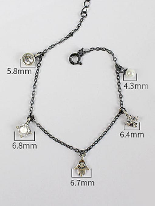 Arya Personalized Little Artificial Pearl Zircon Silver Women Bracelet