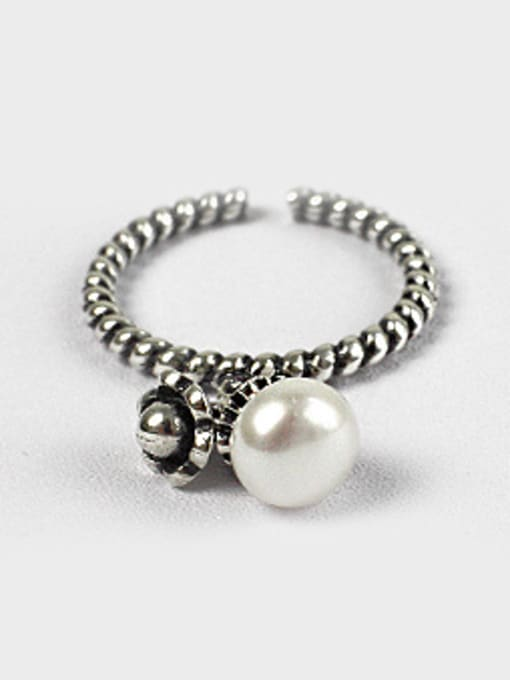 Arya Retro style White Freshwater Pearl Black Twisted Band Opening Ring