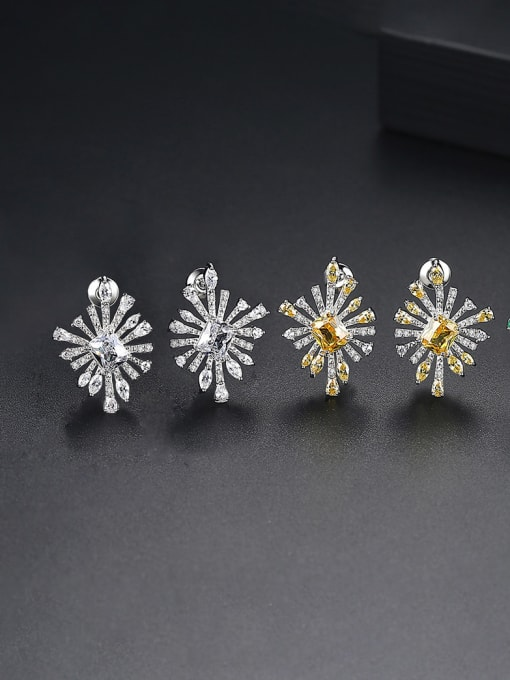 BLING SU Copper With Platinum Plated Fashion Flower Stud Earrings