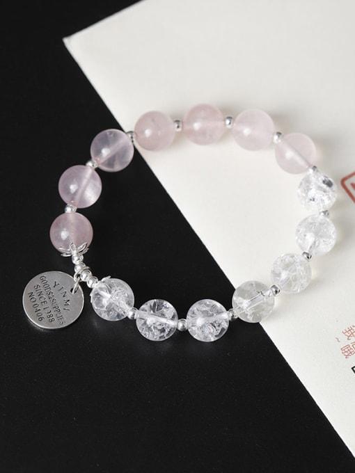 Christian Fashion Natural Crystal Beads 925 Silver Charm Bracelet