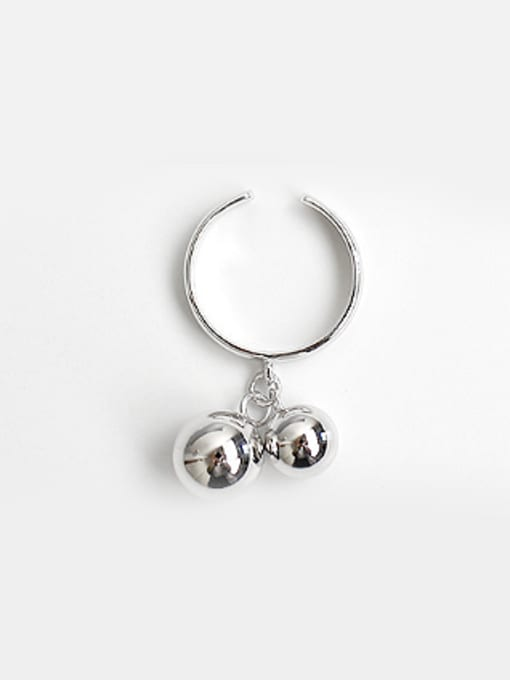 Arya Personalized Two Smooth Beads Opening Silver Ring