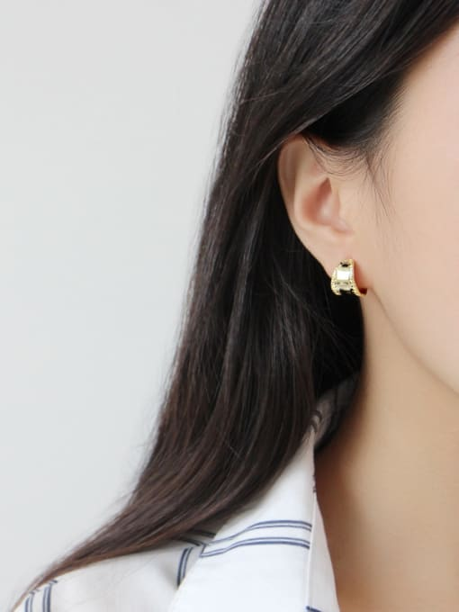 Ying 925 Sterling Silver With Platinum Plated Simplistic Wide-faced Stud Earrings