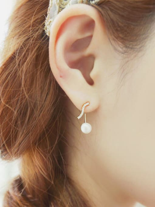 Arya Simple Freshwater Pearl Musical Note Stud Earrings