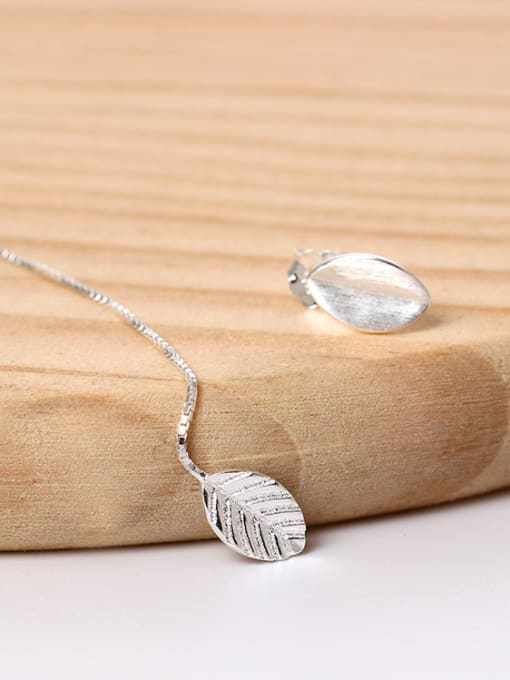 Christian Asymmetrical Little Leaf Freshwater Pearl 925 Silver Stud Earrings