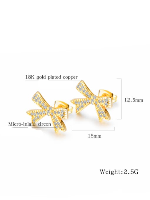 Tong Copper With 18k Gold Plated Classic Bowknot Earrings