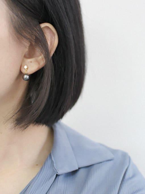 Arya Fashion Artificial Pearl Cubic Zircon Silver Stud Earrings