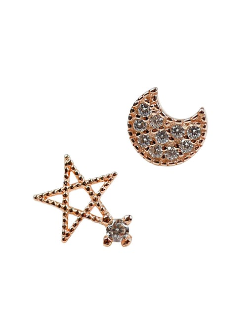 Arya Asymmetrical Little Moon Star Cubic Rhinestones Silver Stud Earrings