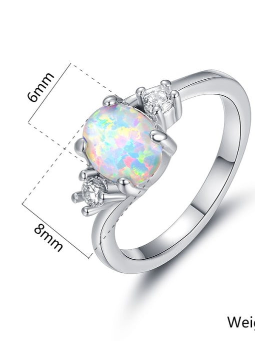 Armadani Natural Opal White Gold Plated Women Ring