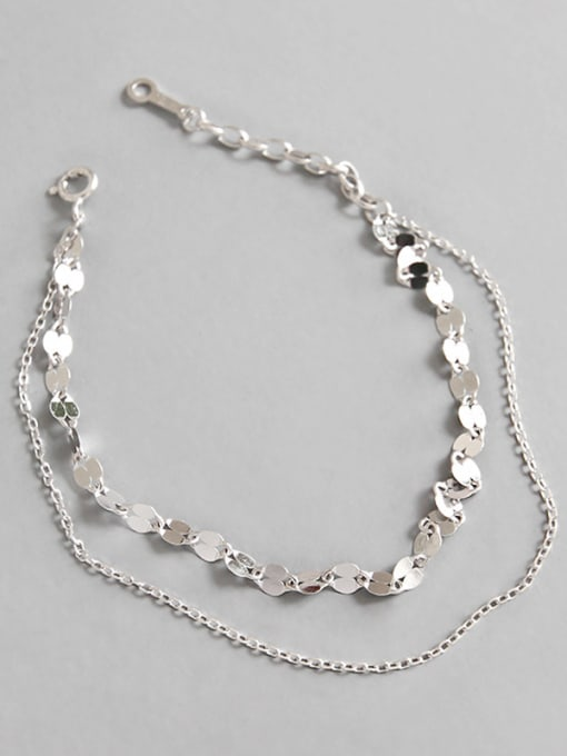Arya Sterling Silver simple double-layer tile Chain Bracelet