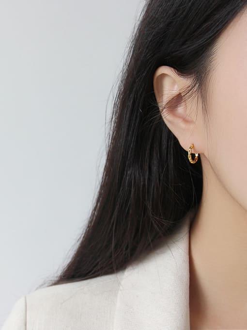 Arya 925 Sterling Silver With Platinum Plated Simplistic Geometric Stud Earrings