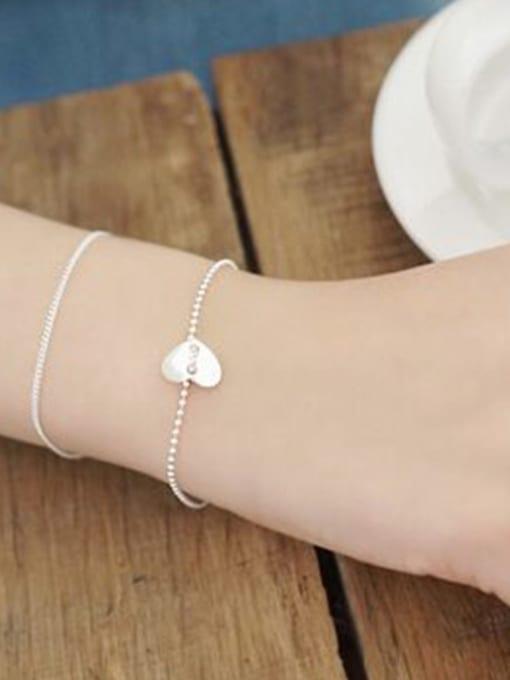 Arya Simple Smooth Heart Silver Tiny Beads Chain Bracelet