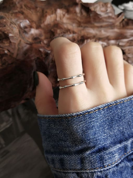 Jolie Silver 925 Sterling Silver With Platinum Plated Simplistic Bamboo Rings