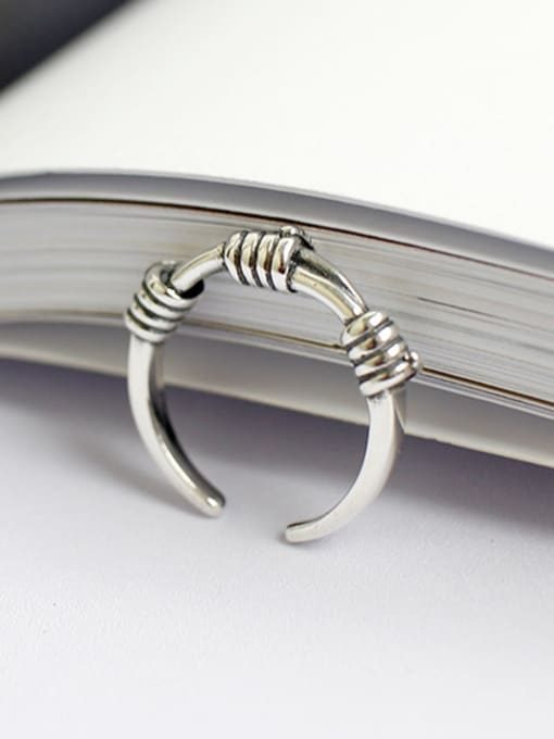 Arya Simple Antique Silver Plated Opening Silver Ring