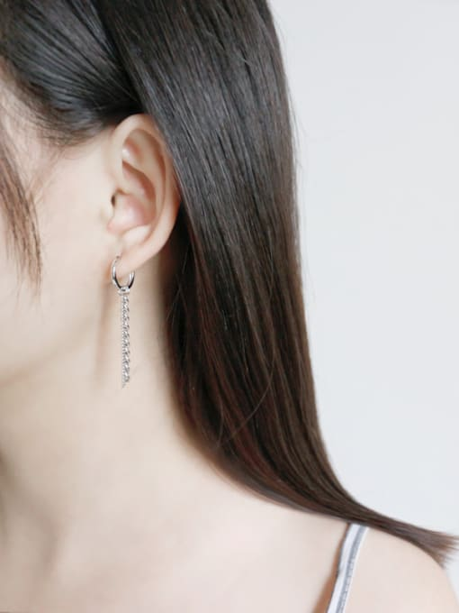 Arya 925 Sterling Silver Trendy Chain asymmetric Drop Earrings