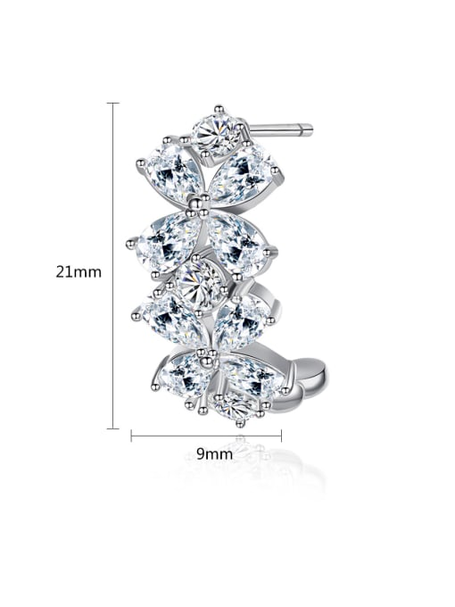 BLING SU Copper With Platinum Plated Delicate Flower Stud Earrings
