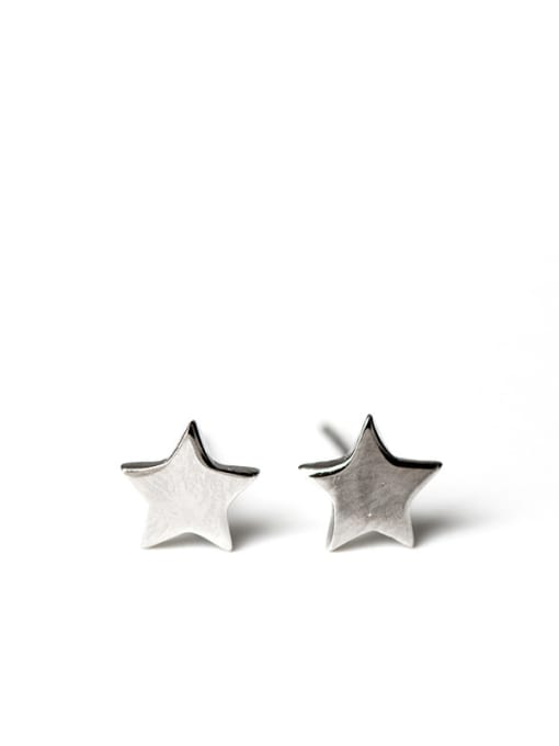 Christian Fashion Shiny Zirconias-studded Stars 925 Silver Stud Earrings