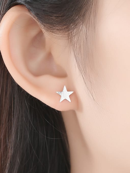 CCUI 925 Sterling Silver With  Glossy Simplistic Stars moon asymmetry  Stud Earrings