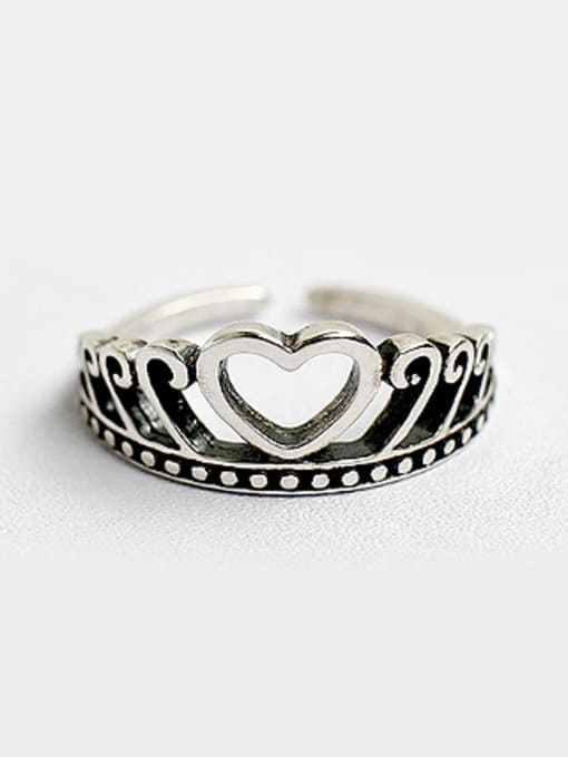 Arya Personalized Heart Crown Silver Opening Ring