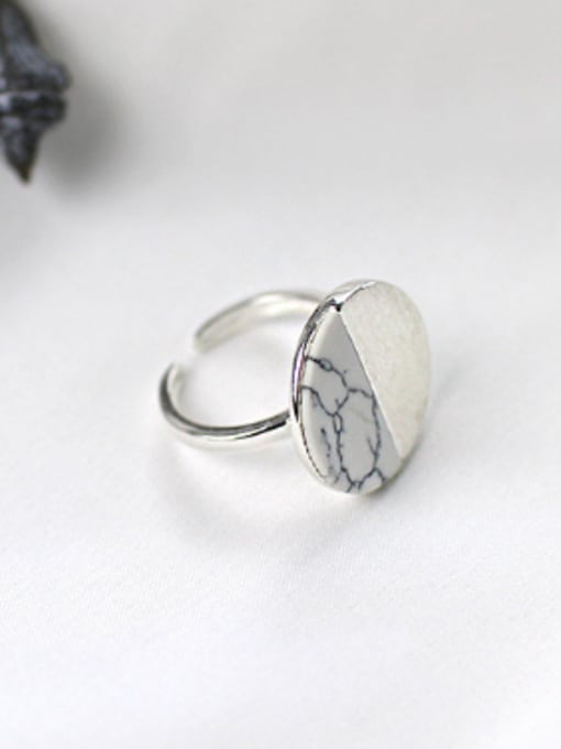 Arya Personalized Round Turquoise stone Silver Opening Ring