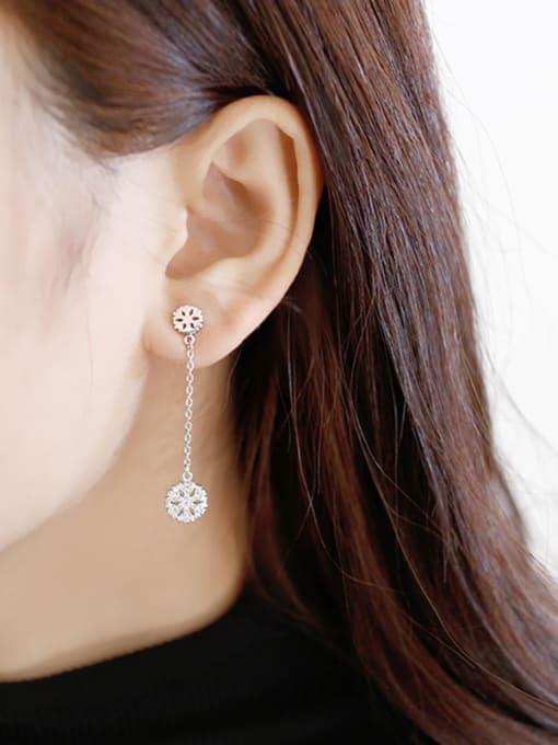Arya Fashion Asymmetrical Snowflake Cubic Zirconias Silver Stud Earrings