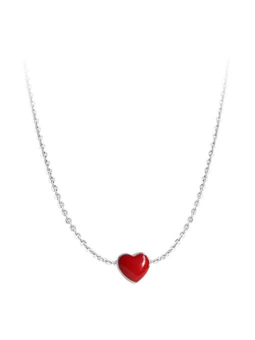 Arya Simple Red Little Heart Silver Necklace