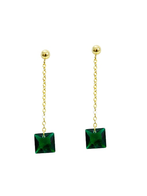 Arya Fashion Green Zircon Gold Plated Silver Drop Earrings