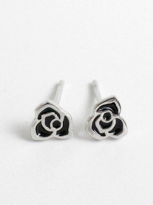 Arya Tiny Black Flower Silver Women Stud Earrings