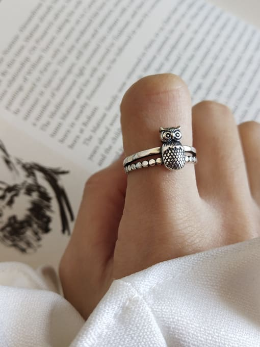 Jolie Silver 925 Sterling Silver With Antique Silver Plated Vintage Owl Rings