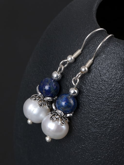 Christian Retro style Freshwater Pearl Blue Stone Bead 925 Silver Earrings