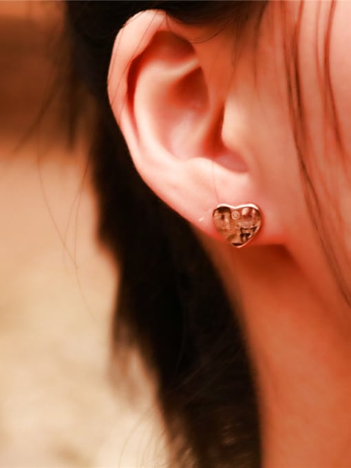 Rose Sweet Korean Heart -shape Stud Earrings