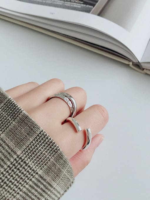 Ying 925 Sterling Silver With Silver Plated Simplistic Wrong side Free Size Rings