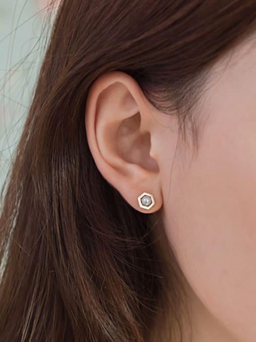 Arya Asymmetrical Artificial Pearl Hexagon-shaped Silver Women Earrings
