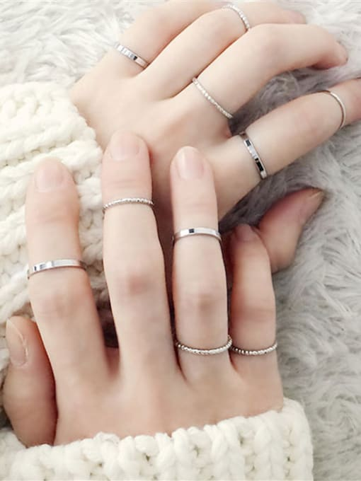 Girlhood Alloy With Gold Plated Casual Round 10 sets of combined rings
