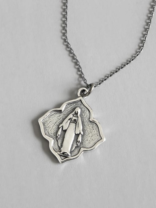 Dark Phoenix 925 Sterling Silver With Antique Silver Plated Geometric Portrait Necklaces