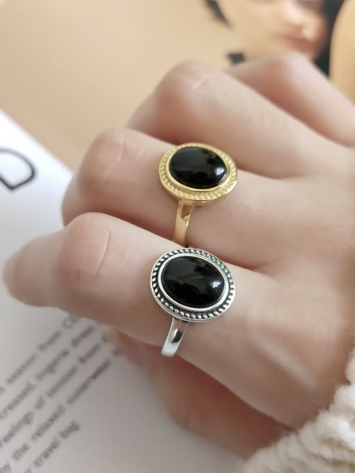 Jolie Silver 925 Sterling Silver With 18k Gold Plated Vintage Oval black Carnelian Solitaire Rings
