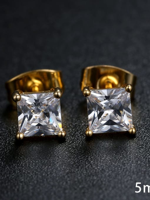 Armadani Sterling Silver Square zircons 3MM 4MM 5MM 6MM studs