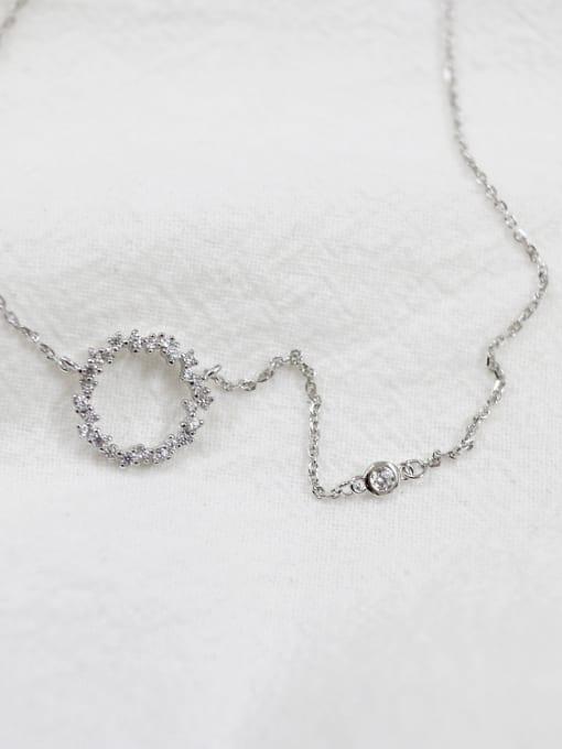 Arya Simple Hollow Round Cubic Tiny Zirconias Silver Necklace