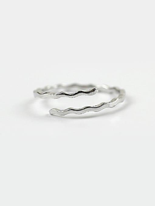 Arya Simple Water Wave Silver Opening Ring