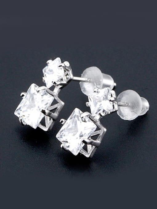 OUXI Simple Square Zircon Stud Earrings