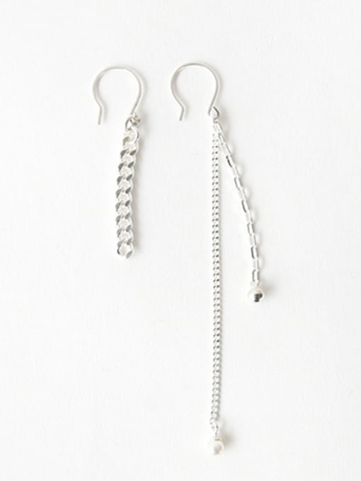 Arya Asymmetrical style Slim Chain Silver Drop Earrings