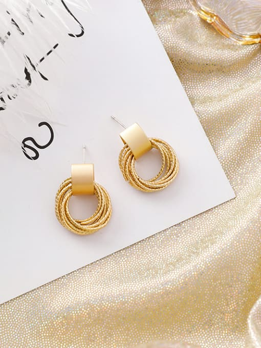 Girlhood Alloy With Gold Plated Personality geometric Round Stud Earrings
